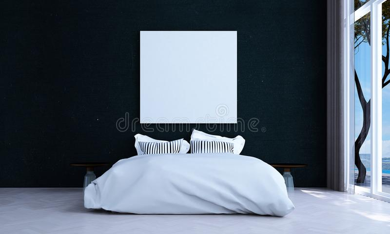 Минимальный дизайн интерьера спальни и красная кирпичная стена делают по образцу предпосылку и вид на море иллюстрация штока