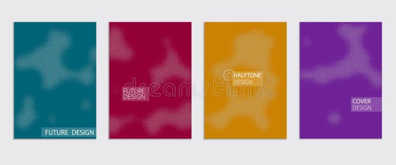 Минимальный дизайн крышек вектора Холодные градиенты полутонового изображения Будущий комплект шаблона плаката иллюстрация штока