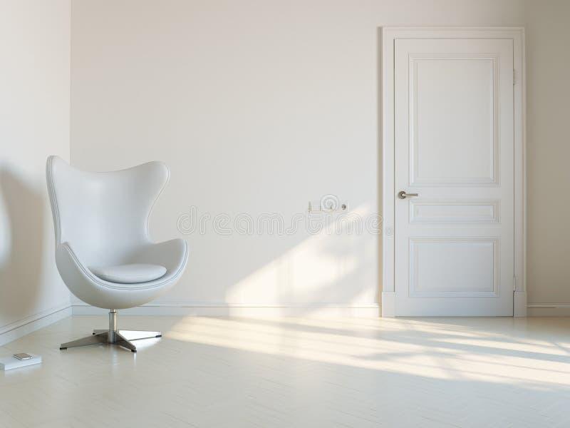 Минималистская белая внутренняя комната с роскошным Armchai стоковое фото rf