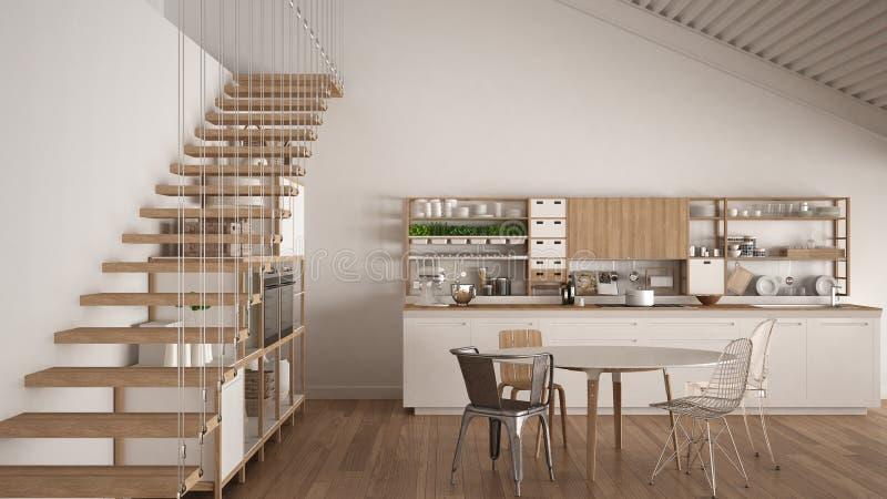 Минималистская белая деревянная кухня, просторная квартира с лестницами, классическое scand иллюстрация штока