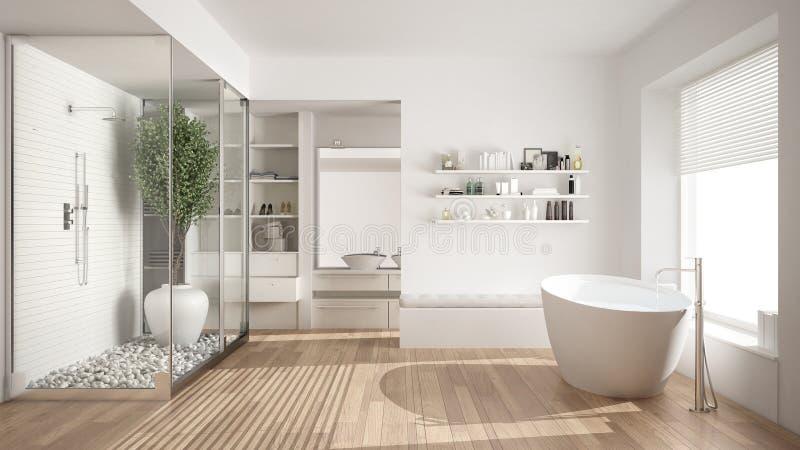 Минималистская белая скандинавская ванная комната с прогулк-в шкафом, clas