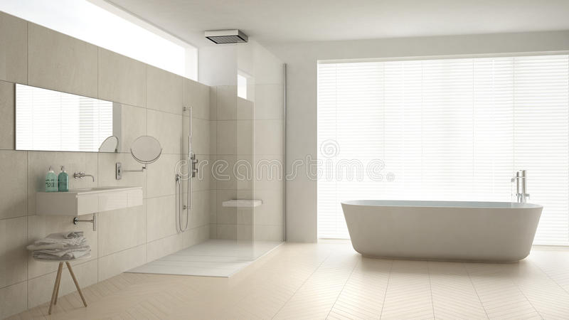 Минималистская ванная комната с ванной и ливнем, полом партера и m