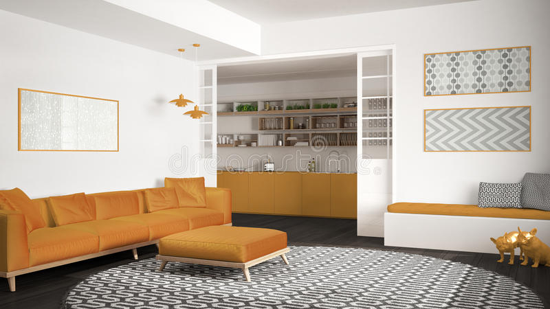Минималистская живущая комната с софой, большим круглым ковром и кухней на заднем плане, серый и желтый современный дизайн интерь стоковое изображение rf