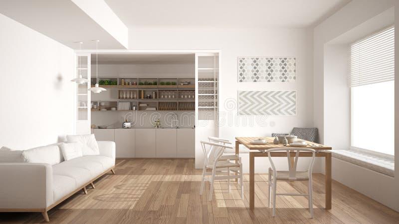 Минималистская кухня и живущая комната с софой, таблицей и стульями,