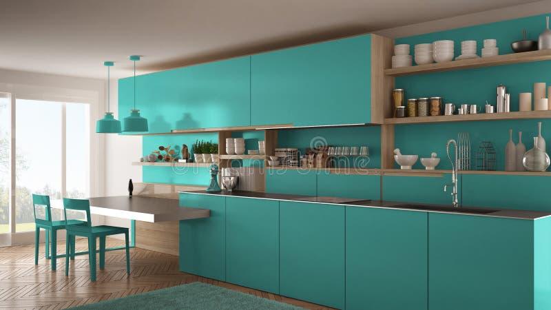 Минималистская современная кухня с деревянными деталями, таблицей и стульями, бесплатная иллюстрация