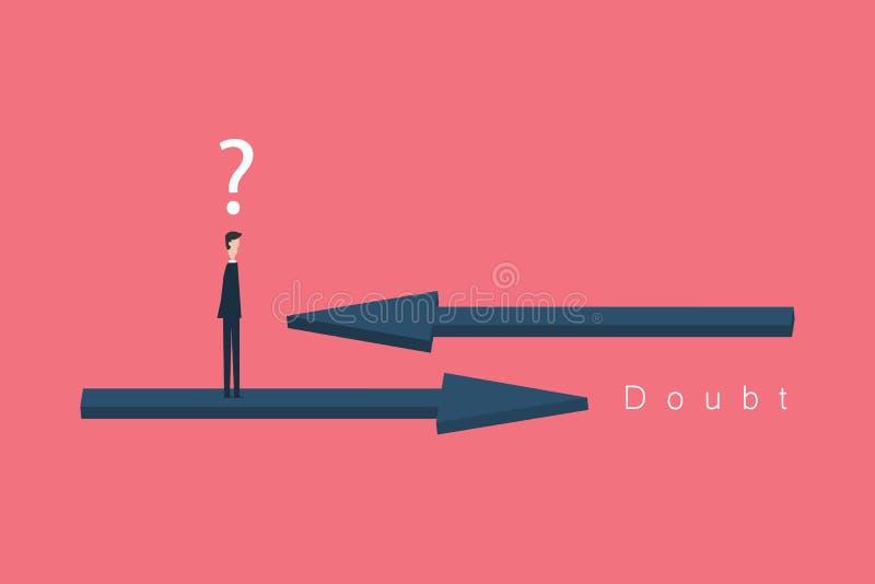 Минималист тип Бизнесмен в сомнении, должный для того чтобы выбрать между 2 различными выборами Иллюстрация принципиальной схемы  иллюстрация штока