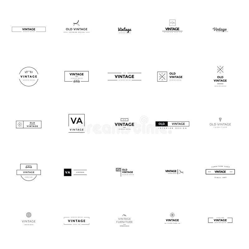 Минимальные винтажные логотипы и собрание значков большое иллюстрация штока