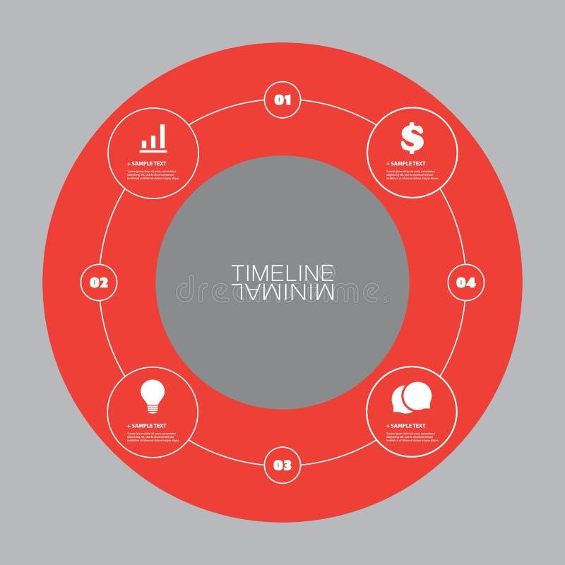Минимальный дизайн круга срока - элементы Infographic с значками бесплатная иллюстрация