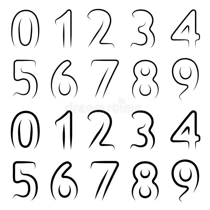 Минимальный контур нумерует шрифт иллюстрация штока