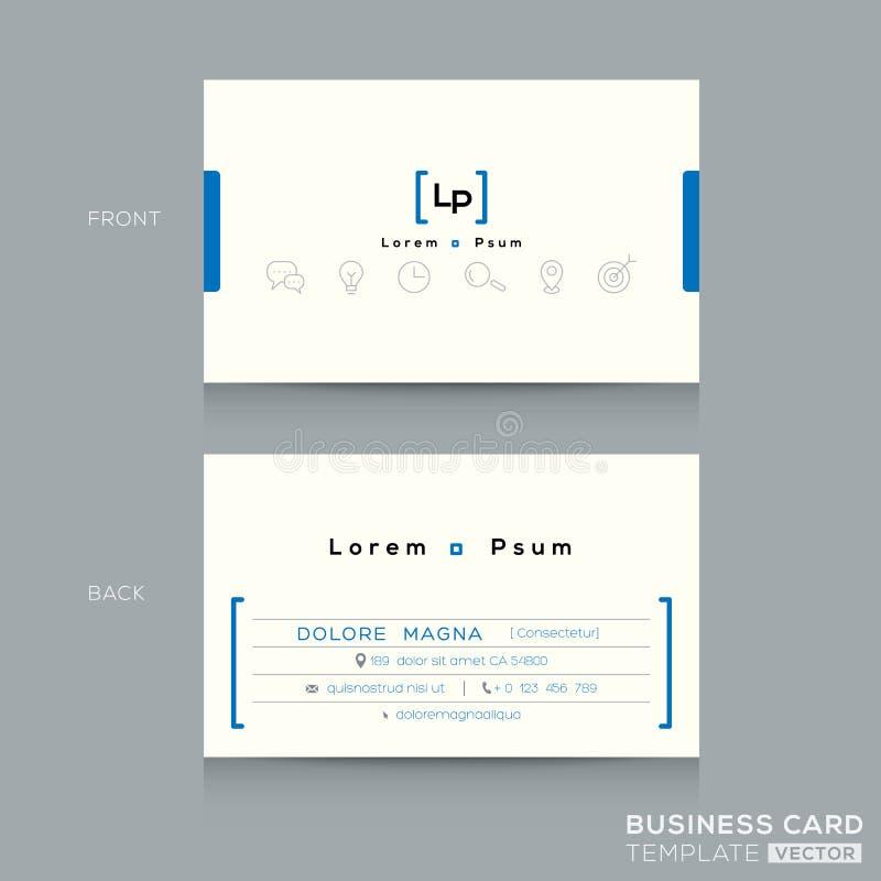 Минимальный очистите шаблон визитной карточки дизайна иллюстрация вектора