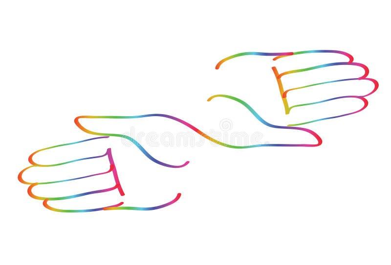 Минимальный рук вектор символа радуги совместно бесплатная иллюстрация