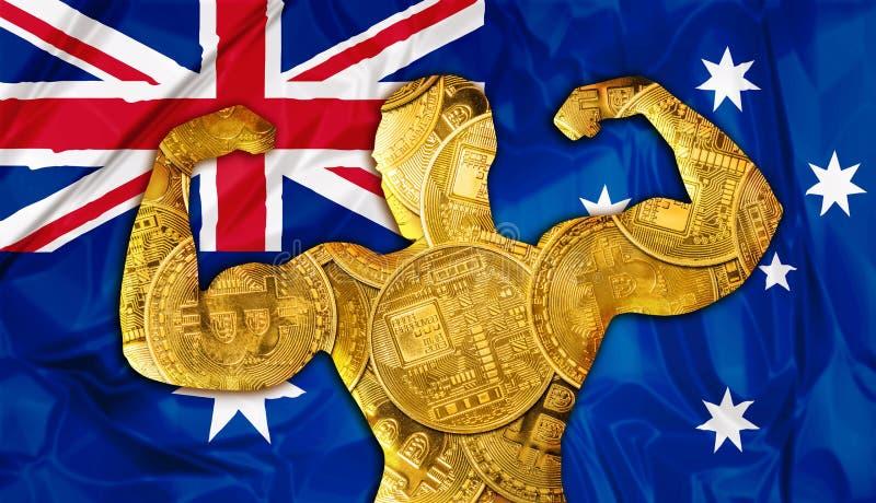 Минирование cryptocurrency Австралии Bitcoin стоковое изображение rf