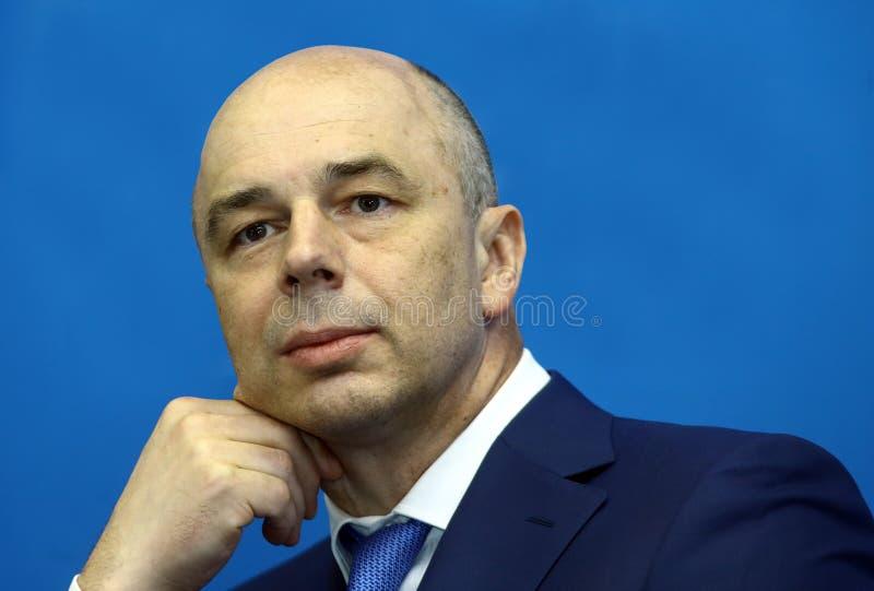 Министр Anton Siluanov финансов Российской Федерации стоковое изображение