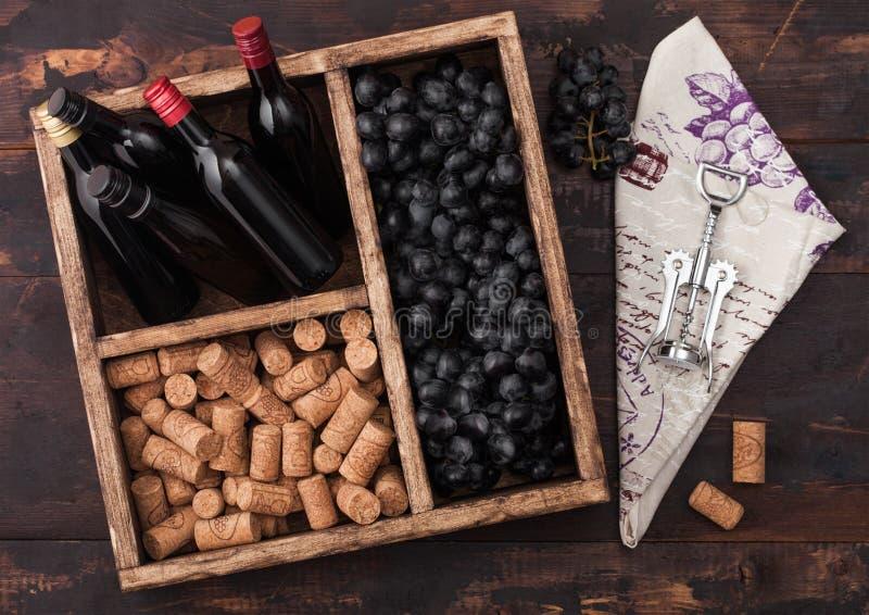 Мини бутылки красного вина с темными виноградинами с пробочками и штопором внутри винтажной деревянной коробки на темной деревянн стоковая фотография
