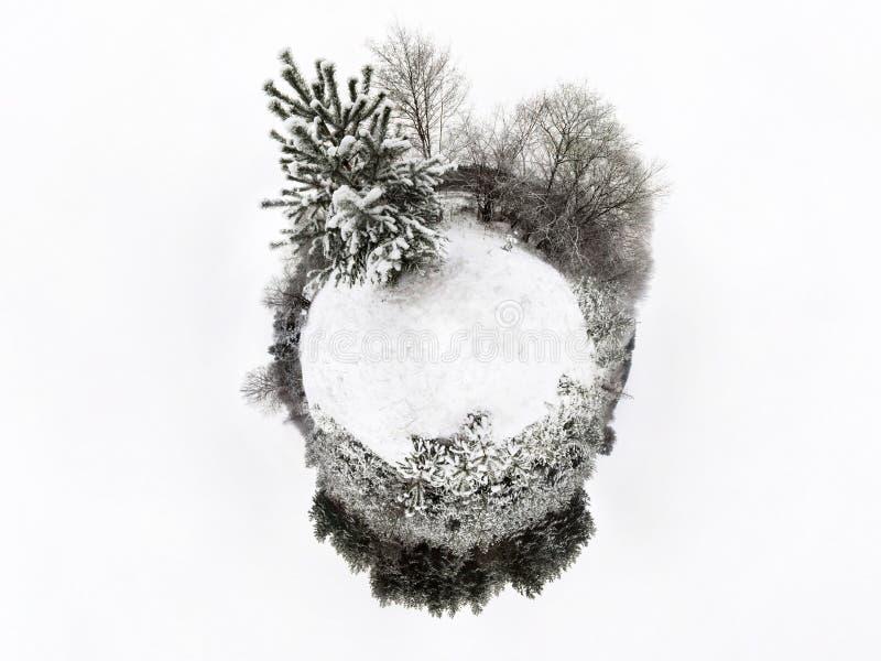 Мини земля планеты Немногое земля планеты с углом наблюдения 360 Панорама глобуса мира Планета зимы маленькая с деревьями и снего стоковое изображение rf