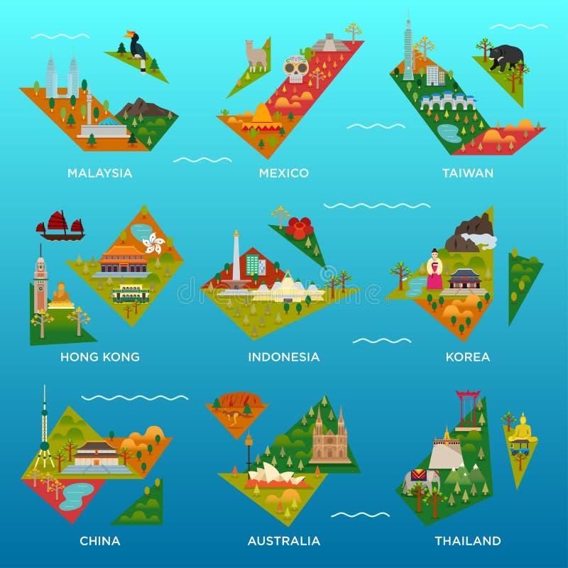 Мини карты острова иллюстрация вектора