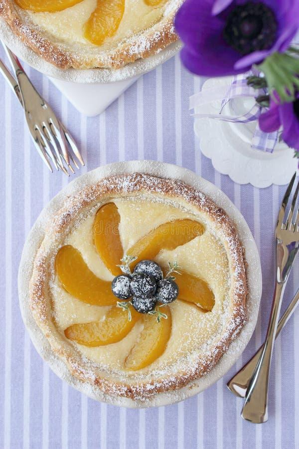 Мини пирог с завалкой, персиком и голубиками плавленого сыра стоковые фото