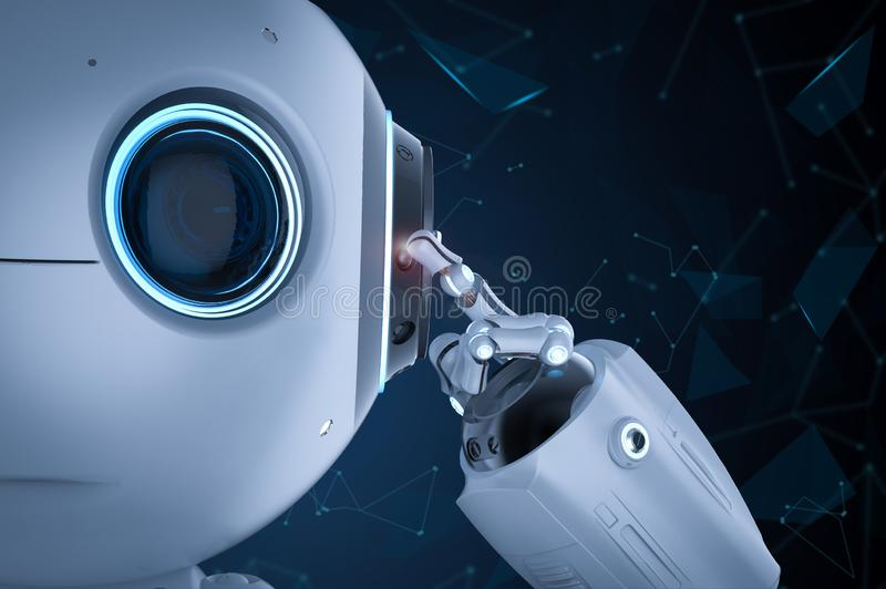 Мини робот думает бесплатная иллюстрация
