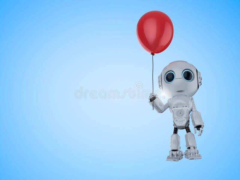 Мини робот с воздушным шаром бесплатная иллюстрация