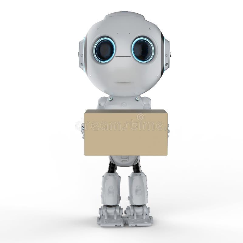Мини робот с коробкой иллюстрация вектора