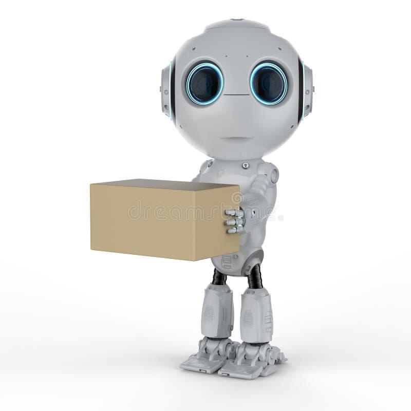 Мини робот с коробкой иллюстрация штока