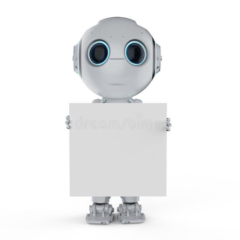 Мини робот с пустым примечанием иллюстрация вектора