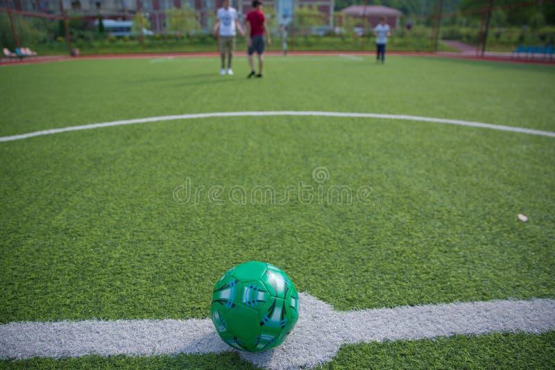 Мини цель футбола на искусственной траве Внутри крытого футбольного поля Мини футбольный мяч стоковые изображения rf
