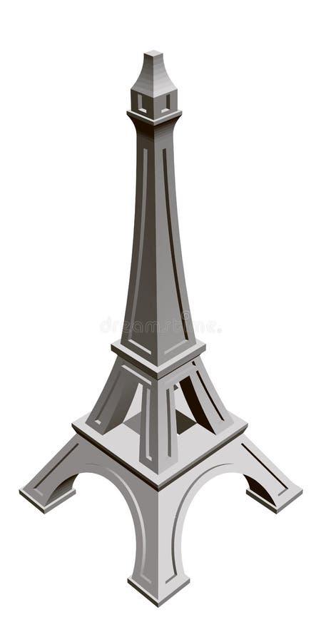 Мини Эйфелева башня Равновеликий взгляд Эйфелева башня изолированная на белой предпосылке 3d r иллюстрация вектора