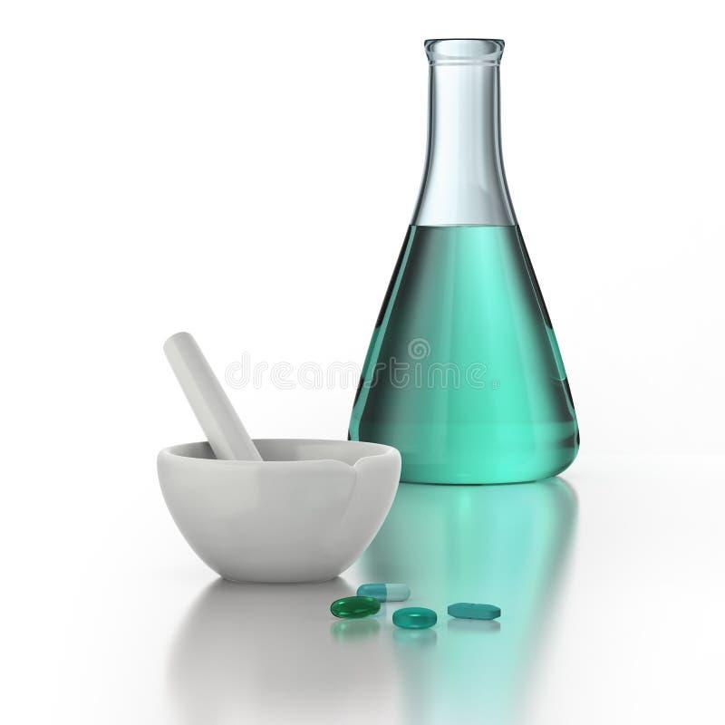 Медицинское соревнование с минометом, пестиком, пилюльками и beaker бесплатная иллюстрация