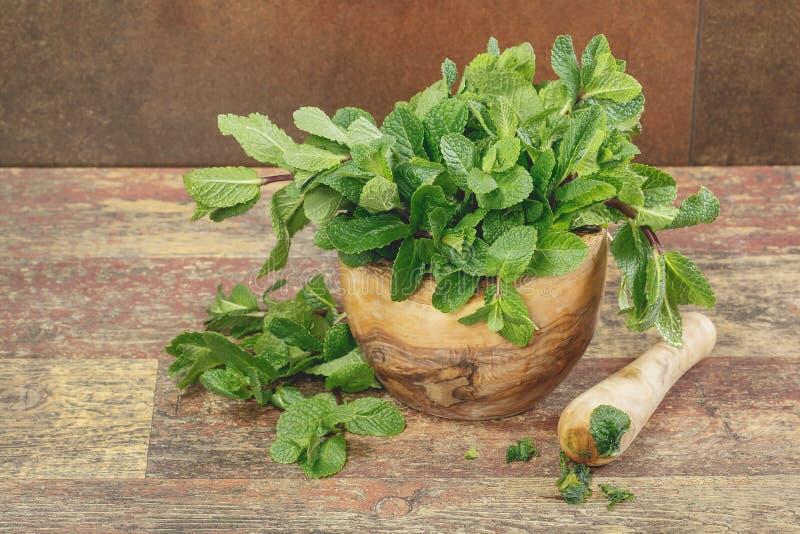 Миномет с листьями свежей мяты стоковая фотография rf