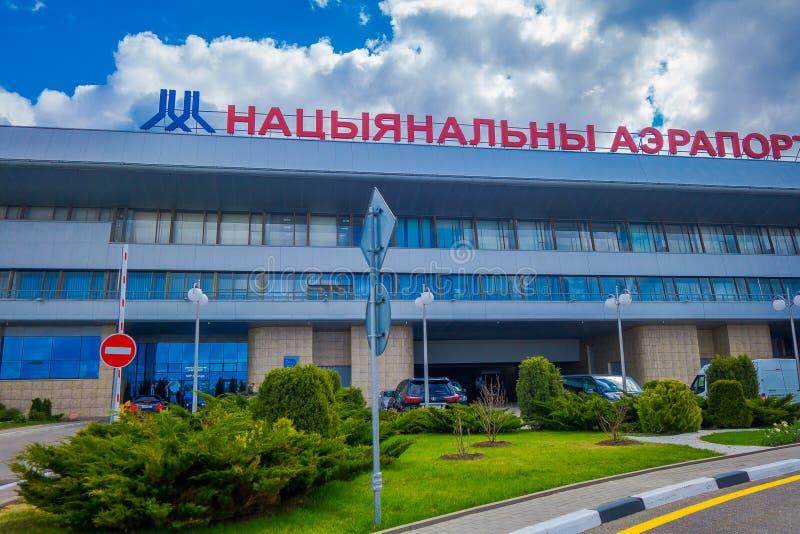 МИНСК, БЕЛАРУСЬ - 1-ОЕ МАЯ 2018: Имя Minsk-2 национального авиапорта Минска бывшее главный международный аэропорт в Беларуси стоковая фотография rf