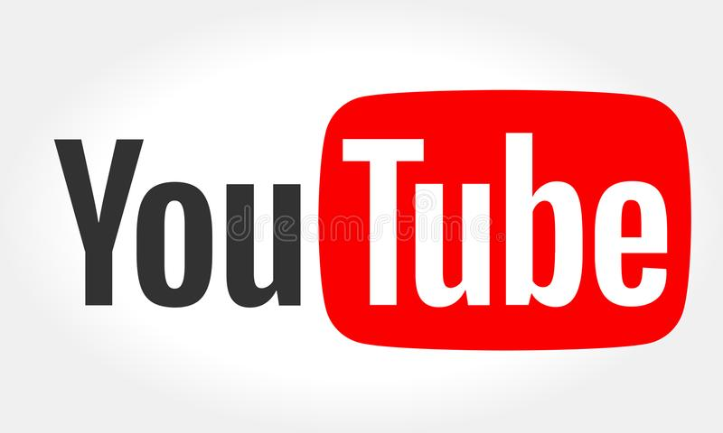 МИНСК, БЕЛАРУСЬ 10-ОЕ МАЯ 2018: Логотип YouTube напечатанный на бумаге YouTube видео-деля вебсайт иллюстрация вектора