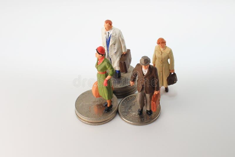 минута диаграммы стойки путешественника на монетках стоковые фотографии rf