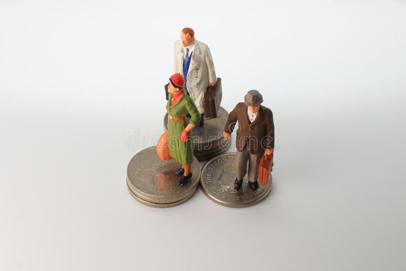 минута диаграммы стойки путешественника на монетках стоковые изображения