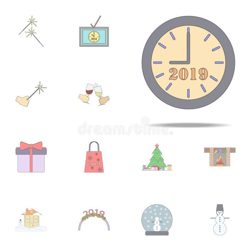 Минуты последнего часов рождества покрасили значок Набор значков праздника рождества всеобщий для сети и черни бесплатная иллюстрация