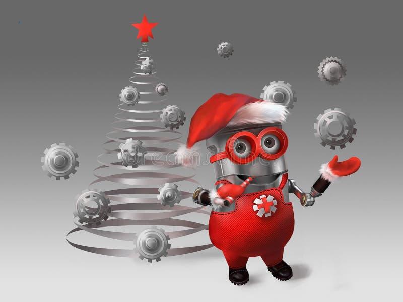Миньон одевает рождественскую елку иллюстрация штока