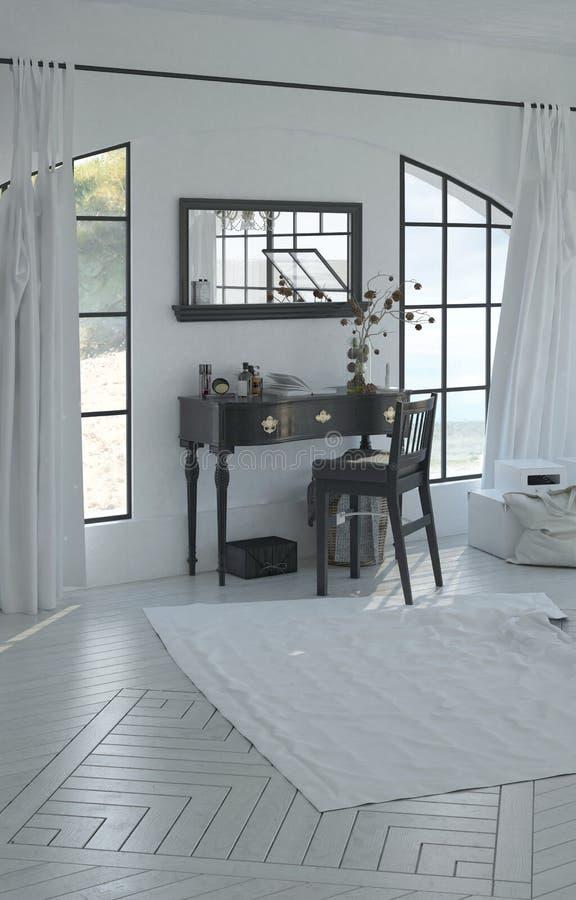Мирный домашний офис с столом и стулом mahogany стоковая фотография rf