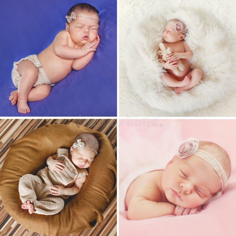 Мирный сон newborn младенца, коллажа 4 изображений стоковые фотографии rf