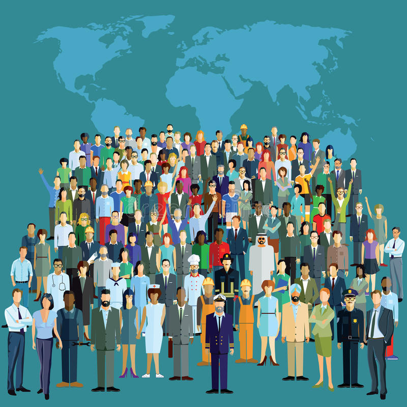 Мировое население иллюстрация штока