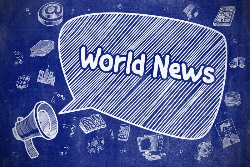 Мировые новости - иллюстрация шаржа на голубой доске иллюстрация вектора