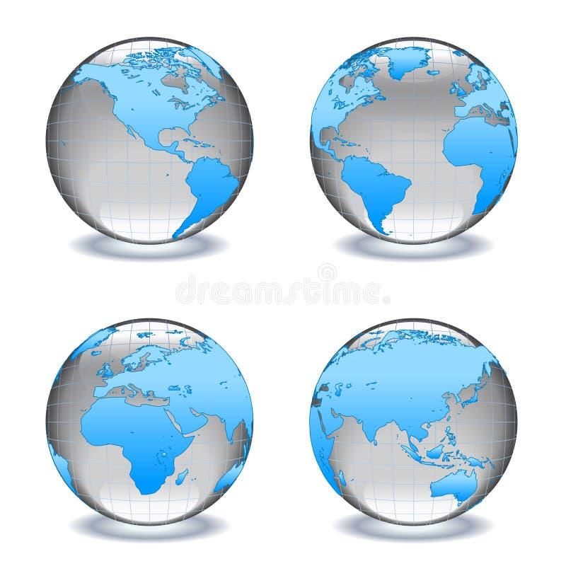 миры глобусов кристаллического стекла иллюстрация вектора