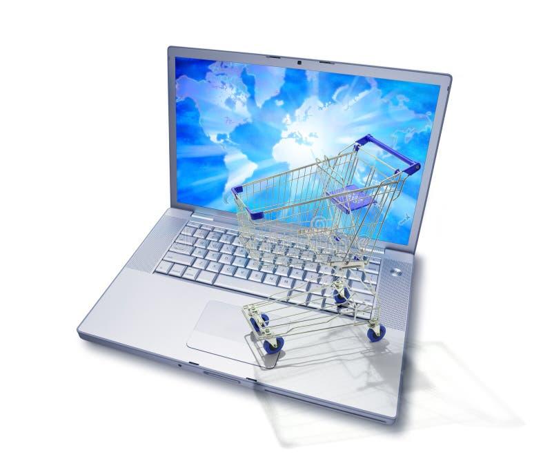мир вагонетки покупкы интернета компьютера иллюстрация вектора