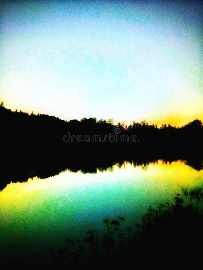 Мир, вечер, заход солнца, дзэн стоковое изображение