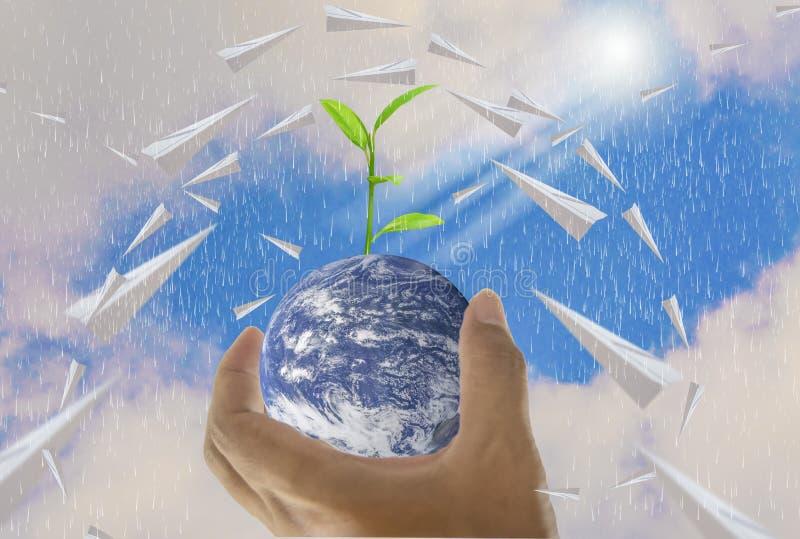 Мир, в пригорошне, самолет бумаги, там деревья растя на верхней части, с ярким небом как предпосылка иллюстрация штока