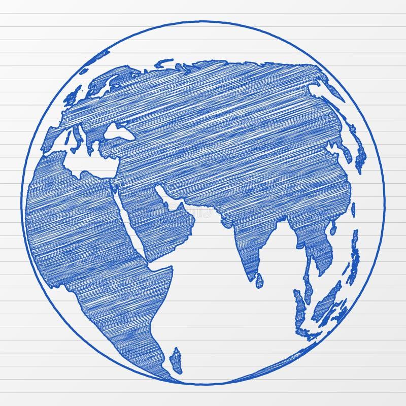 мир глобуса чертежа иллюстрация штока