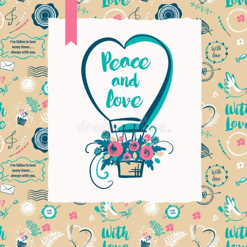 Мир и влюбленность текста Стильная безшовная картина с воздушным шаром на день валентинки события партии счастливый иллюстрация штока