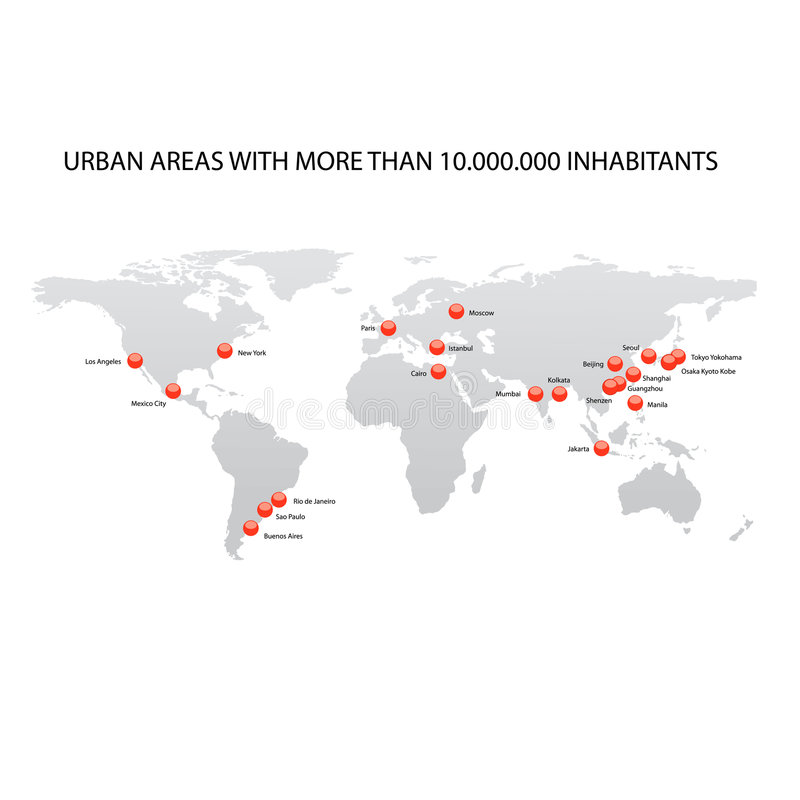 мир карты городов самый большой иллюстрация штока