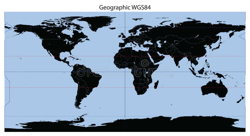 мир карты долготы широты иллюстрация вектора