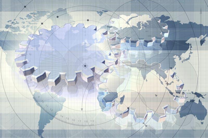мир карты шестерен иллюстрация штока