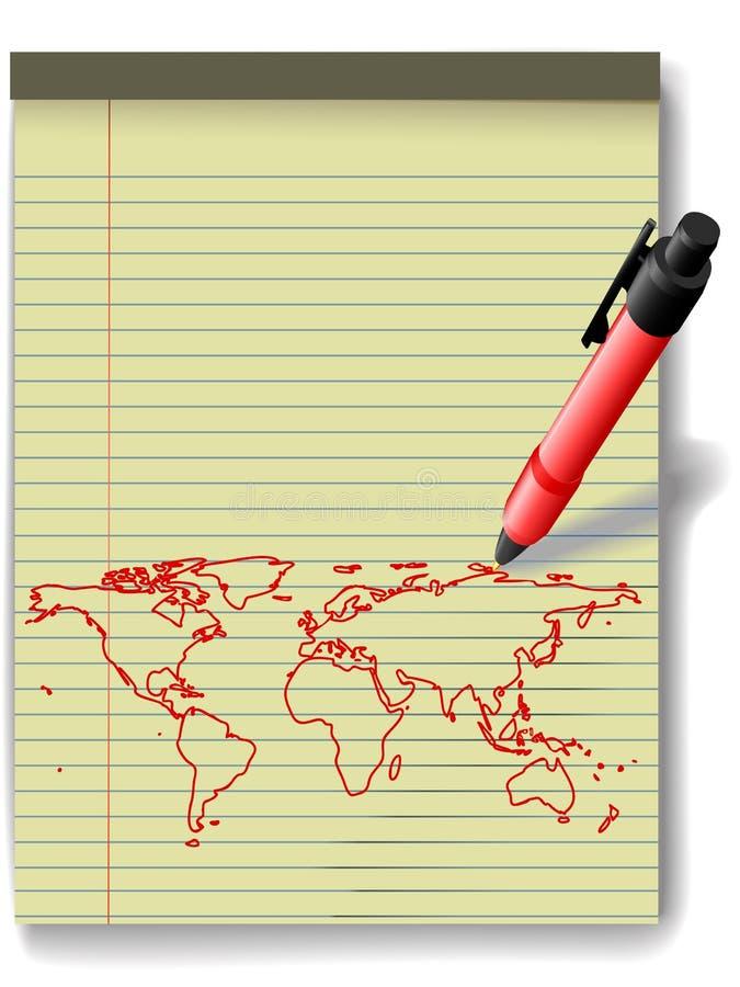 мир красного цвета пер бумаги пусковой площадки карты чернил чертежа законный иллюстрация вектора